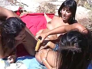 Outdoor Lesbian Vibrator Pleasuring